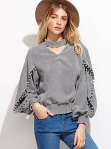 Grey Lantern Sleeve Elastic Hem Pompom Detail Top