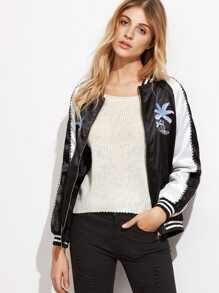 Black Coconut Tree Embroidery Bomber Jacket With Zipper