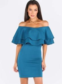 Green Ruffle Off The Shoulder Sheath Dress