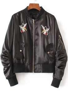 Black Eagle Embroidery Bomber Jacket