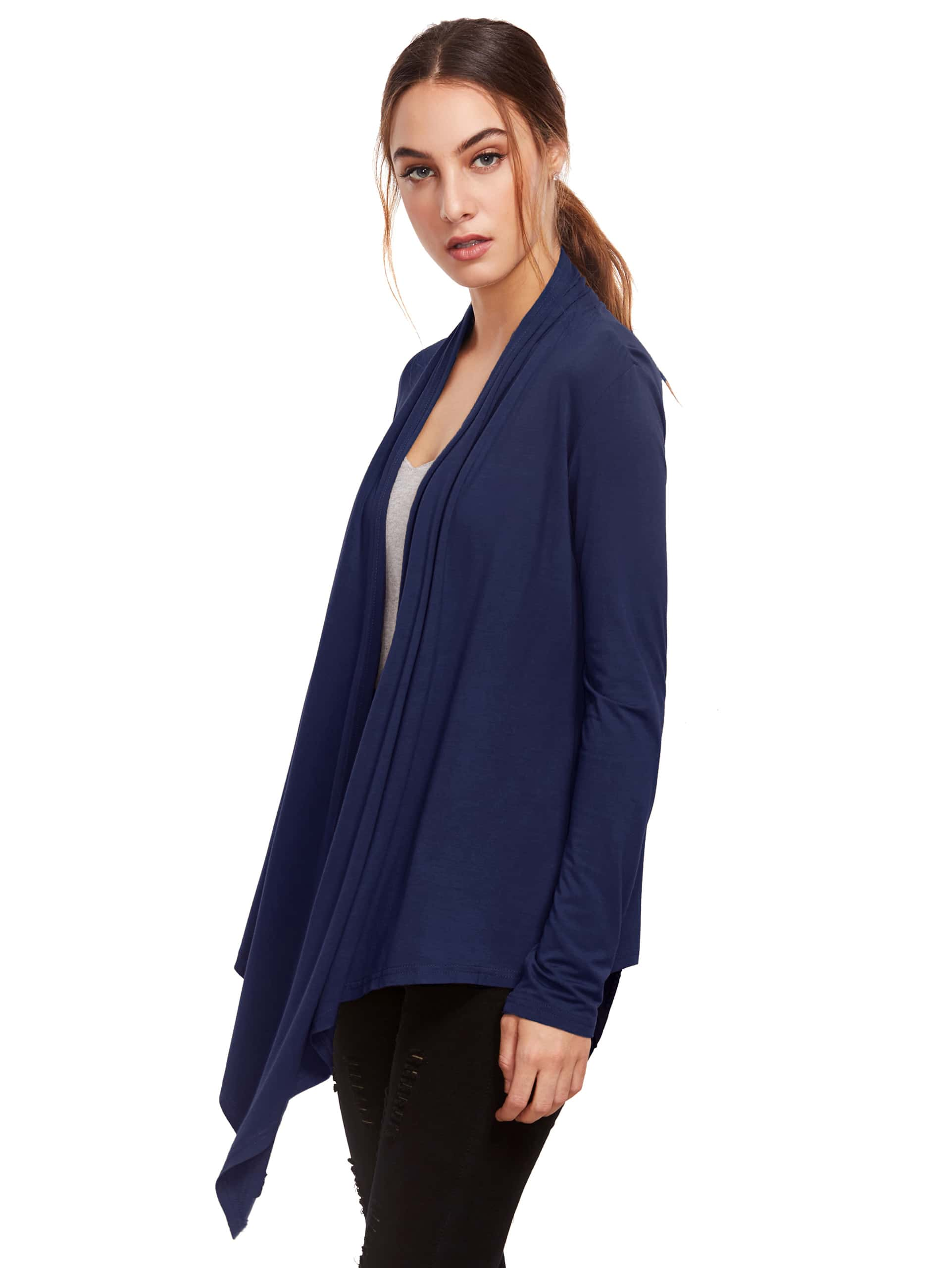 A comfortable layer to complete any look with flattering ribbing to complement your curves. Turnback collar. High-low hem. 38