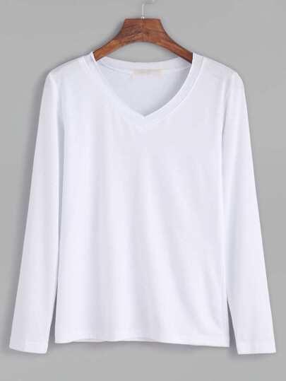 Camiseta con escote V - blanco