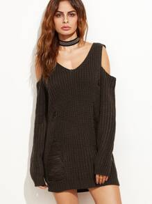Coffee Ripped Cold Shoulder Long Sweater
