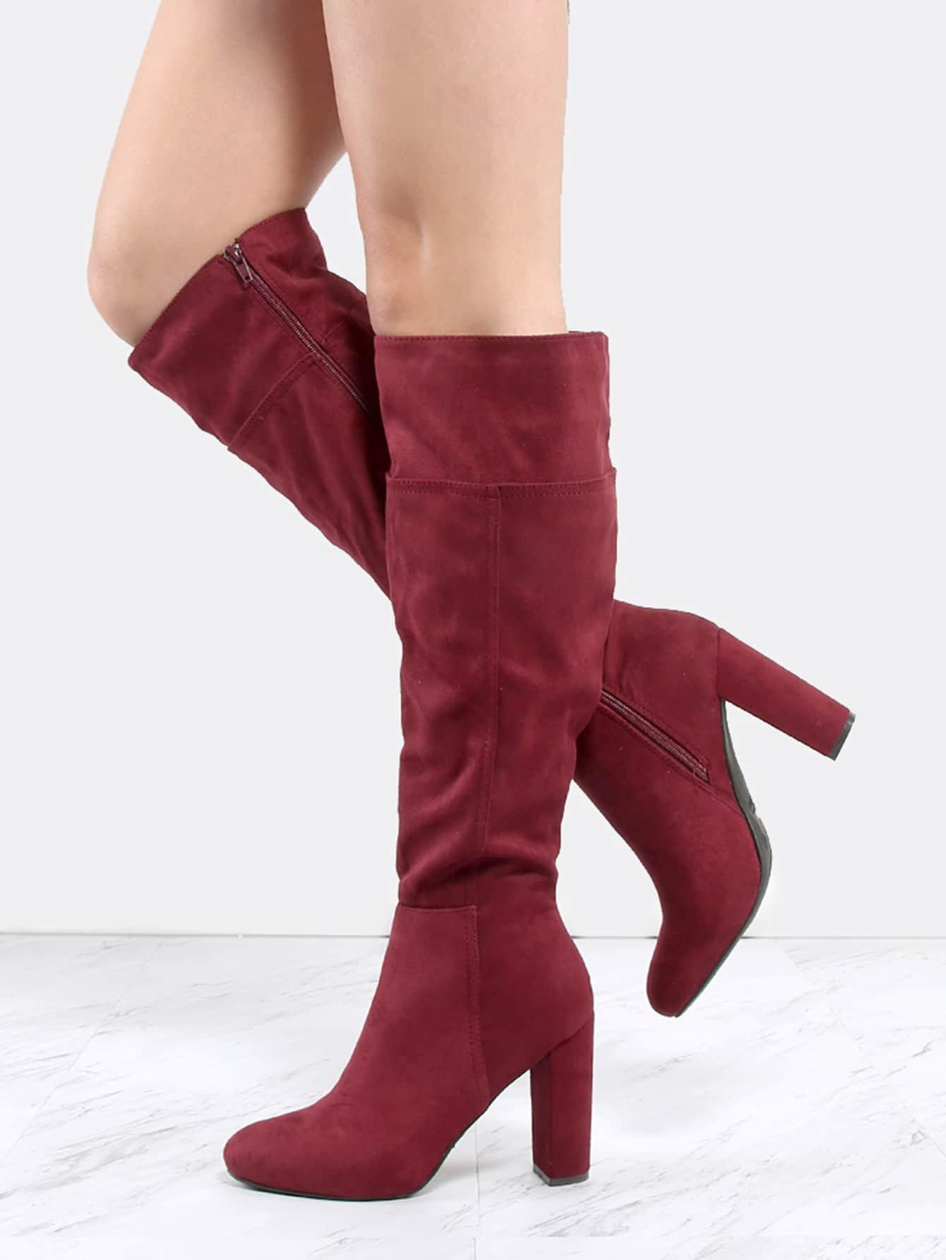 faux suede chunky heel knee boots burgundy shein sheinside