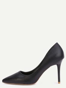 Black Faux Leather Point Toe Heels