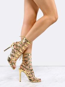 Metallic Lace Back Stiletto Heels GOLD