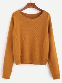 Pull tricoté en câble - kaki