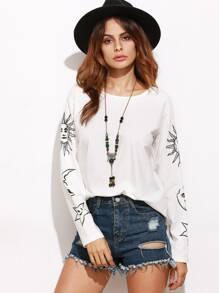 White Graphic Print Drop Shoulder T-shirt