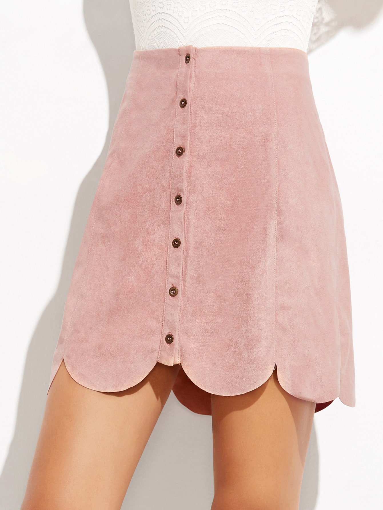 Suede Button Up Scallop Hem Skirt ruffle waist zip back scallop hem embroidered gingham skirt