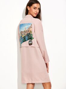 Pink Stand Collar Sequin Patch Back Pockets Coat