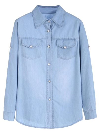 Blue Roll Tab Sleeve Buttons Denim Shirt