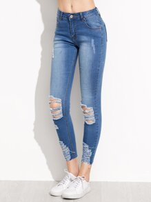 Distressed Rip Knee Skinny Ankle Jeans