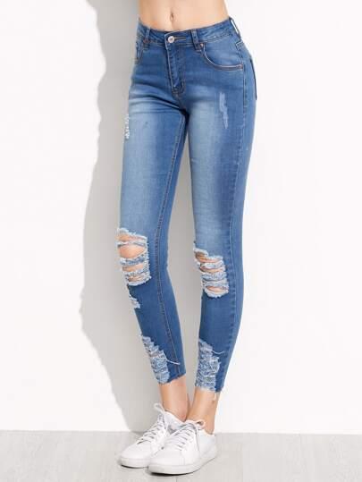 جينز ضيق أزرق نمط ممزق