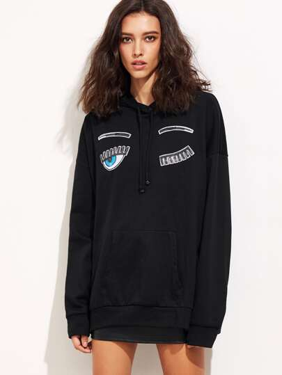 Black Sequin Wink Eye Embellished Oversized Hoodie