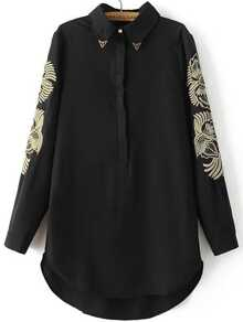 Black Embroidery Hidden Button Dip Hem Shirt Dress
