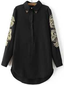 Black Embroidery Hidden Button Dip Hem Shirt Dress