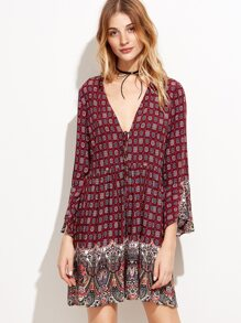 Burgundy Tribal Print Tie Detail Shift Dress