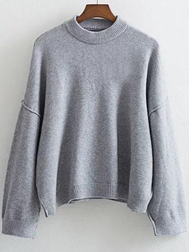 Grey Crew Neck Drop Shoulder Ribbed Trim Sweater sweater160824215
