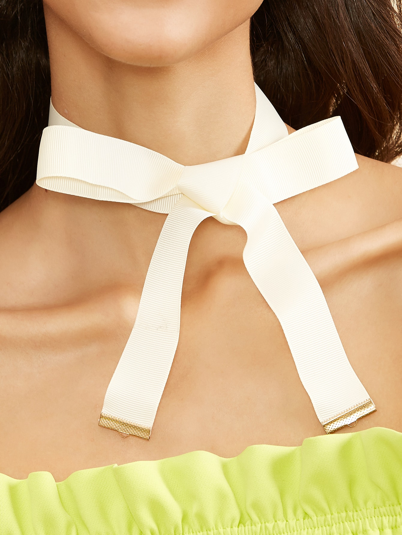 White ribbon bow tie choker necklace shein sheinside for Ribbon tie necklace jewelry