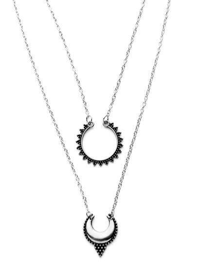 Antique Silver Double Layer Moon Design Pendant Necklace