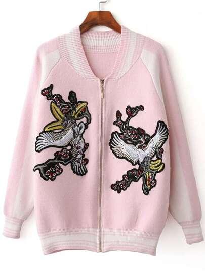Pink Crane Embroidery Raglan Sleeve Zipper Sweater Coat
