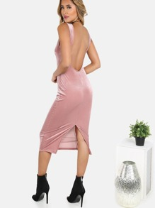 Striped Velvet Backless Midi Dress MAUVE