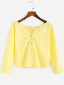 Yellow Boat Neck Button Front Blouse
