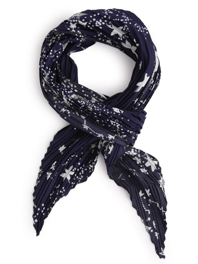 navy folding print satin scarf shein sheinside