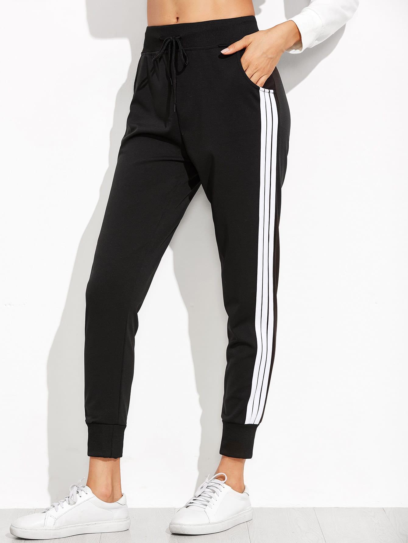 Black Striped Side Sweat Pants pants160905121