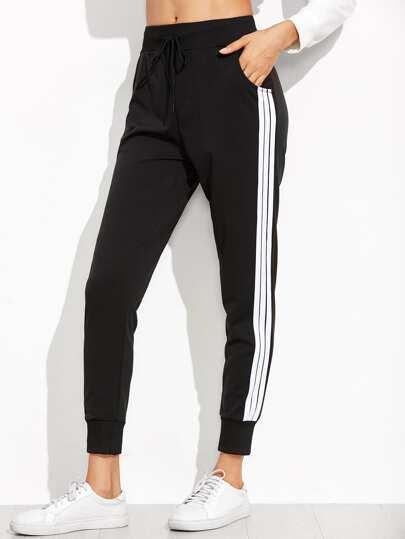 Black Striped Side Sweat Pants