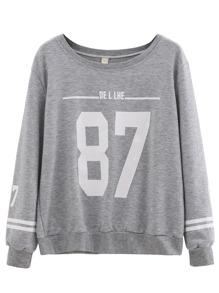 Grey Varsity Print Sweatshirt