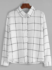 White Plaid Buttons Shirt