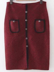 Burgundy Front Pocket Button Up Slit Bodycon Skirt