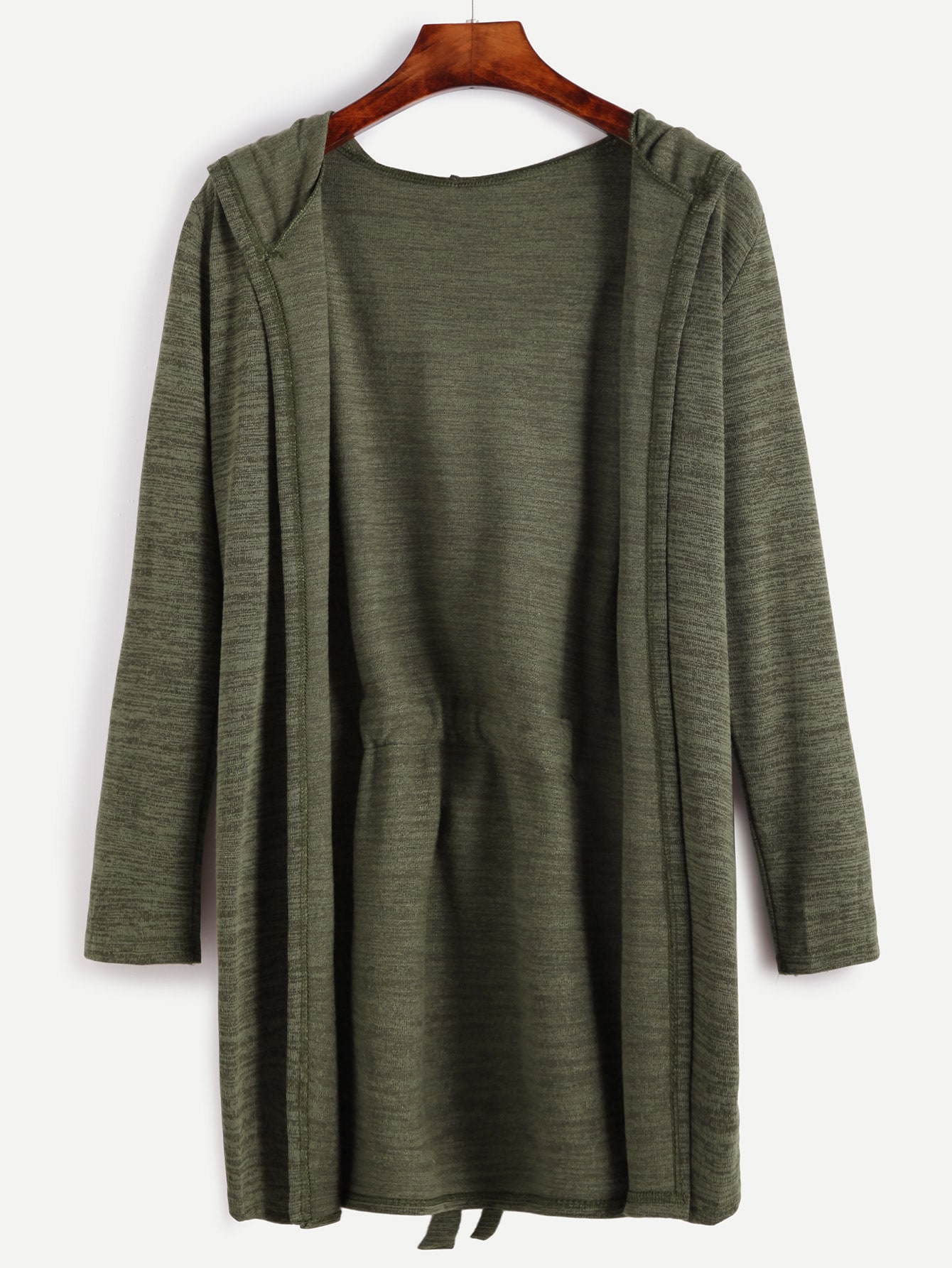 Dark Green Self Tie Hooded Cardigan -SheIn(Sheinside)