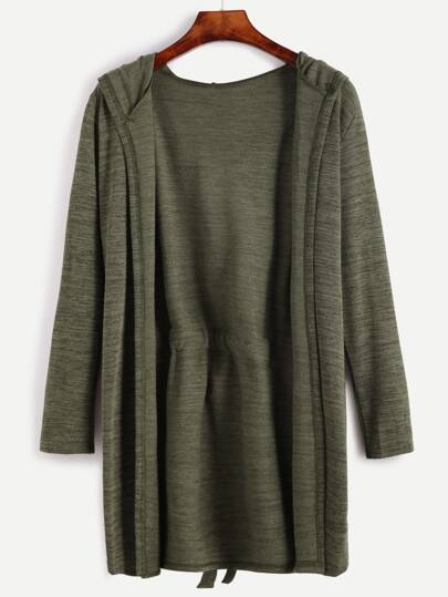 Dark Green Self Tie Hooded Cardigan