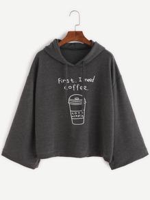 Тёмно-серый свитшот с капюшоном с принтом