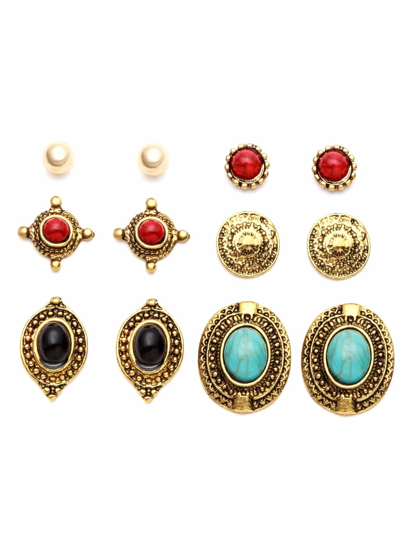 Antique Gold Carved Gemstone Stud Earrings Set 10pcs antique gold gemstone ring set