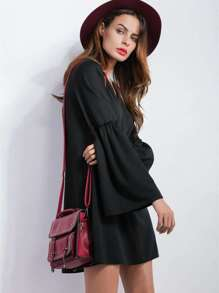 Black V Neck Bell Sleeve Tunic Dress
