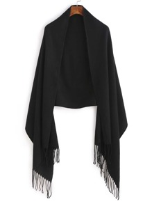 Black Long Fringe Shawl Scarf