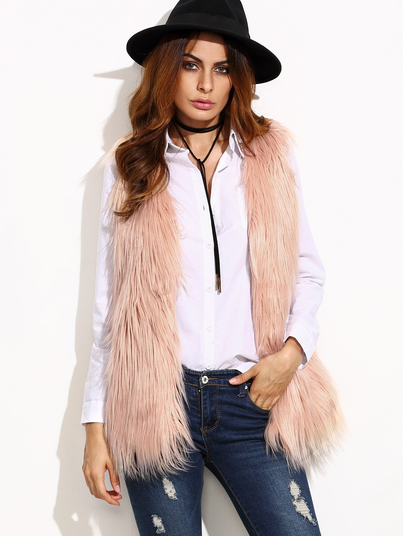 Image of Beige Faux Fur Vest