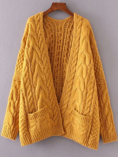 Ginger Drop Shoulder Cable Knit Cardigan With Pockets -SheIn ...