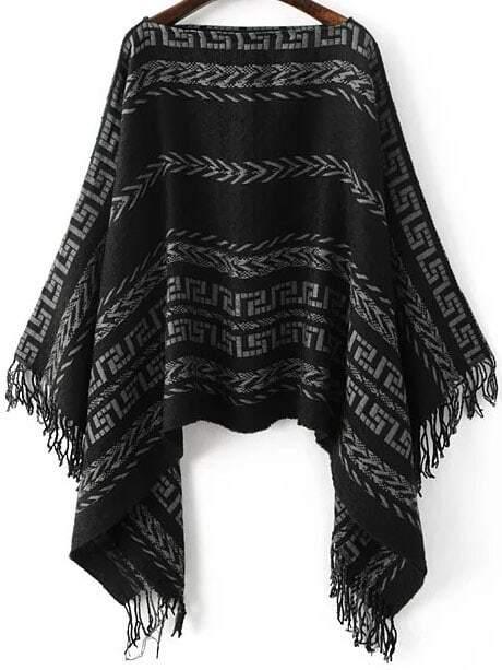 Black Tribal Pattern Boat Neck Fringe Poncho SweaterBlack Tribal Pattern Boat Neck Fringe Poncho Sweater<br><br>color: Black<br>size: one-size