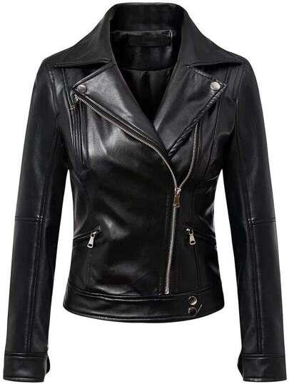 Black Oblique Zipper PU Moto Jacket
