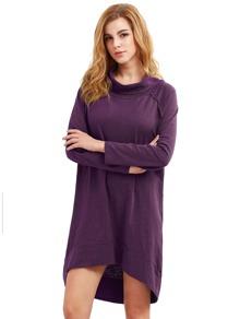 Purple Cowl Neck Long Sleeve High Low Dress