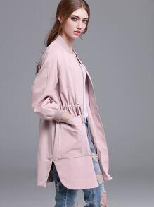 Pink Drawstring Waist Zipper Front Outerwear
