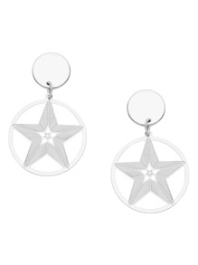 Silver Plated Star Hollow Out Drop Earrings