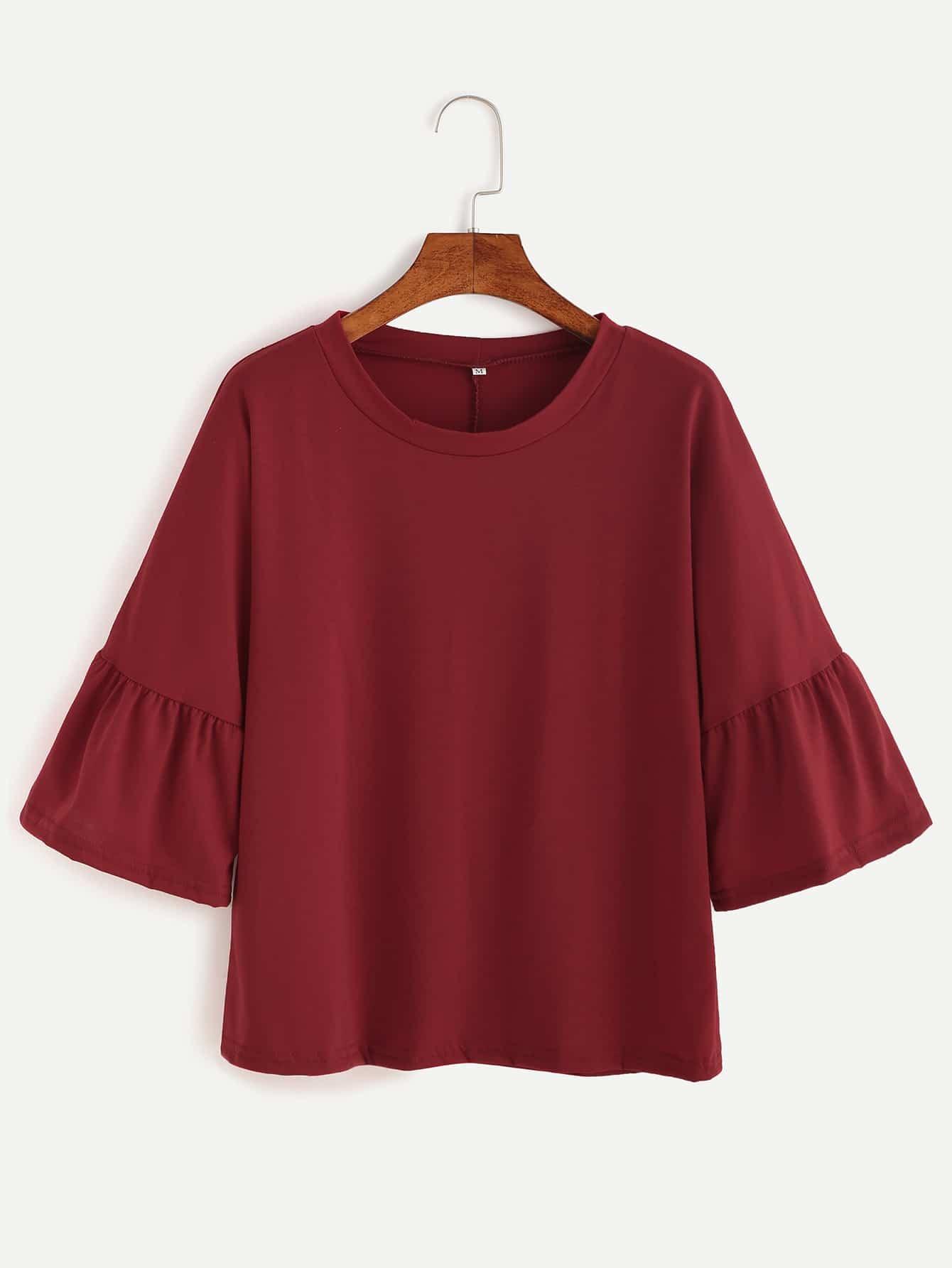 Burgundy bell sleeve t shirt shein sheinside for Bell bottom sleeve shirt
