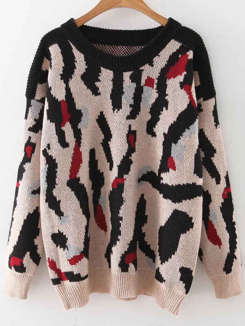 Leopard Pattern Ribbed Trim Drop Shoulder Sweater sweater160901201