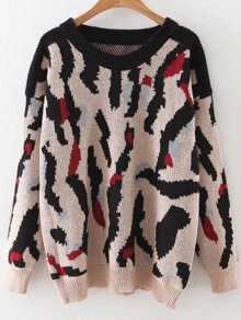Leopard Pattern Ribbed Trim Drop Shoulder Sweater