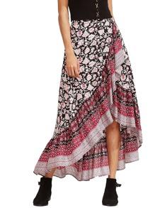 Floral Print Crossover Asymmetrical Skirt
